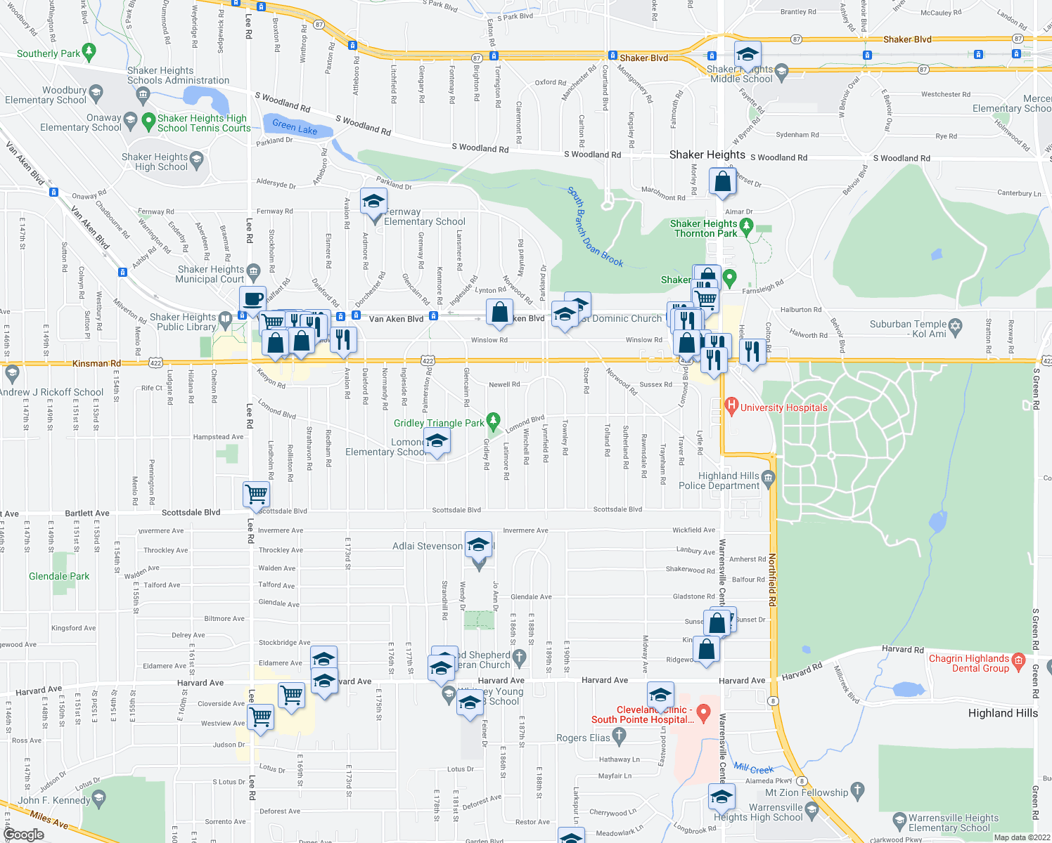 map of restaurants, bars, coffee shops, grocery stores, and more near Lomond Boulevard & Winchell Road in Shaker Heights