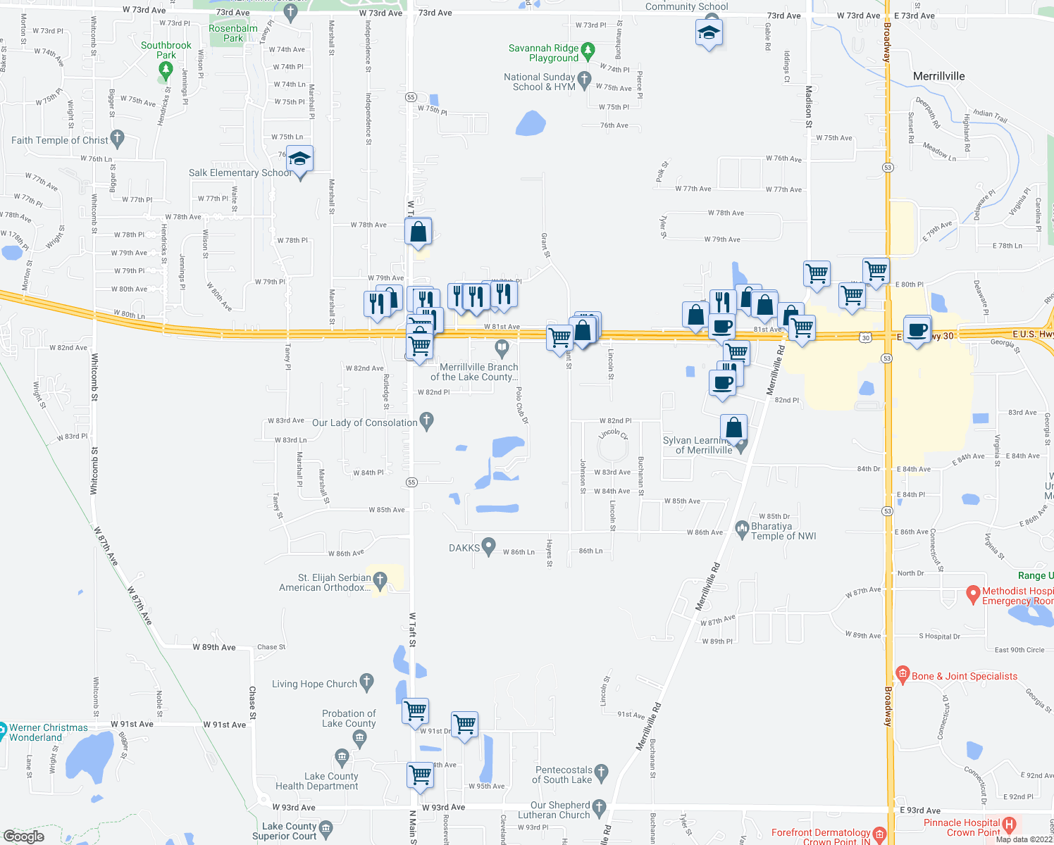map of restaurants, bars, coffee shops, grocery stores, and more near 8424 Polo Club Drive in Merrillville