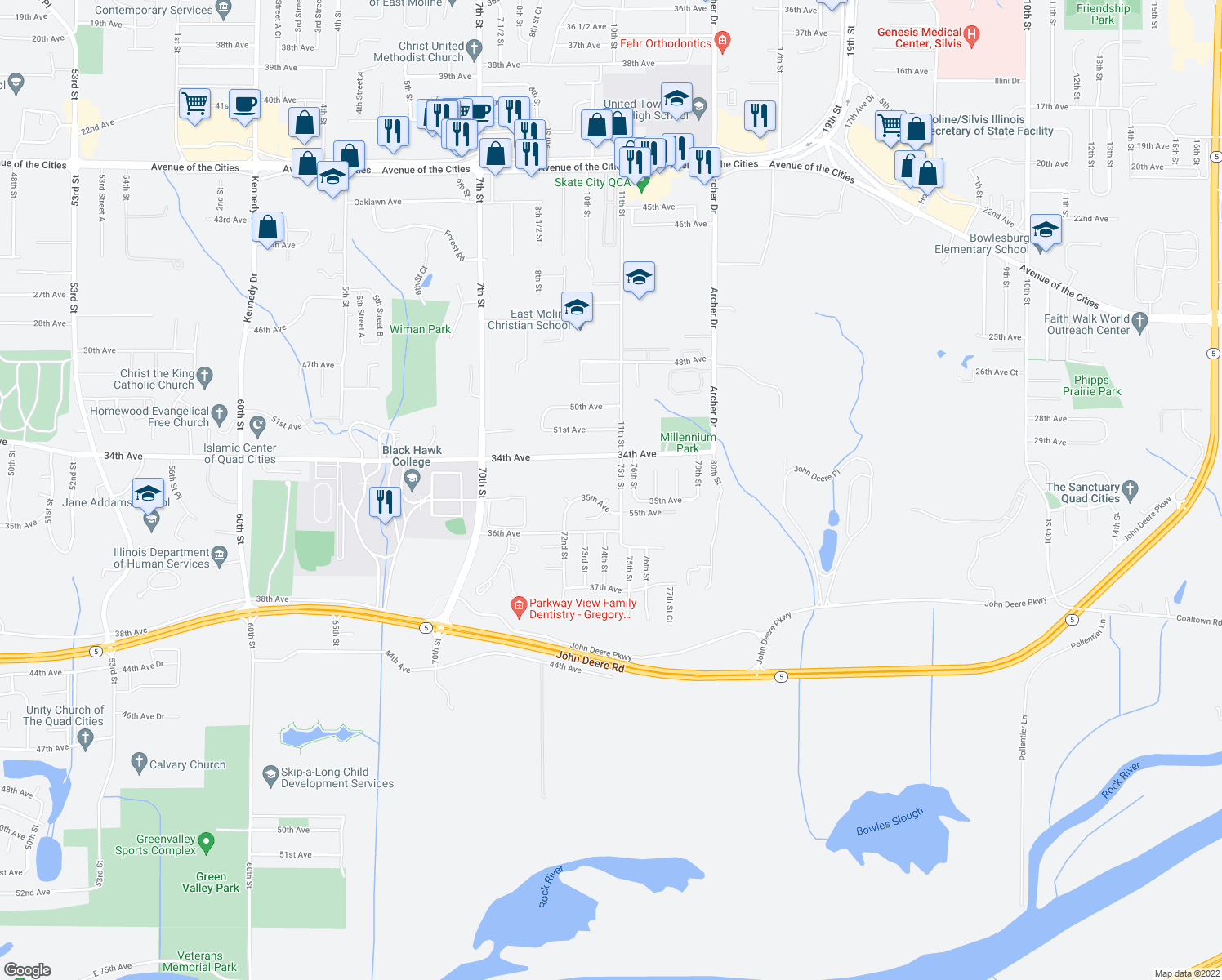 map of restaurants, bars, coffee shops, grocery stores, and more near 3403 74th Street Court in Moline