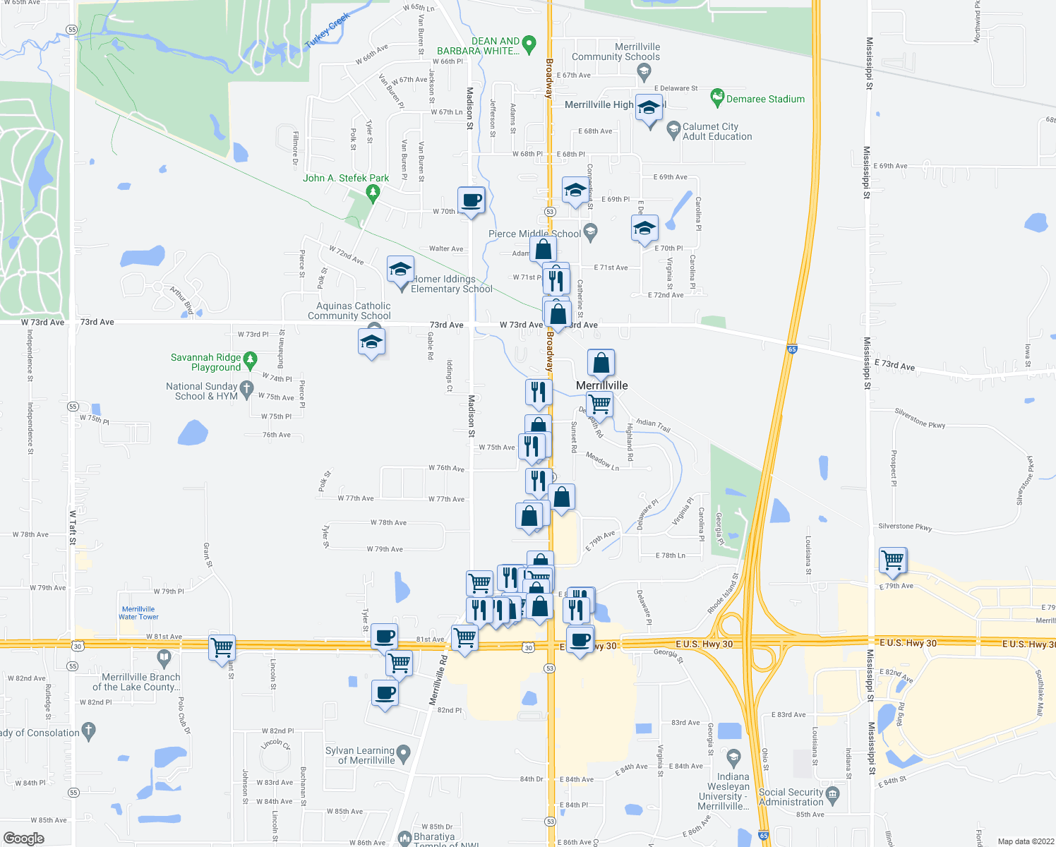 map of restaurants, bars, coffee shops, grocery stores, and more near 101 West 75th Place in Merrillville