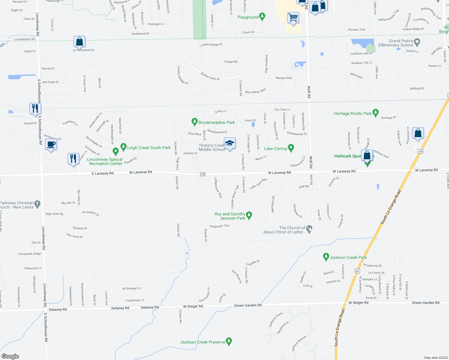 map of restaurants, bars, coffee shops, grocery stores, and more near 11710 Sandstone Court in Frankfort