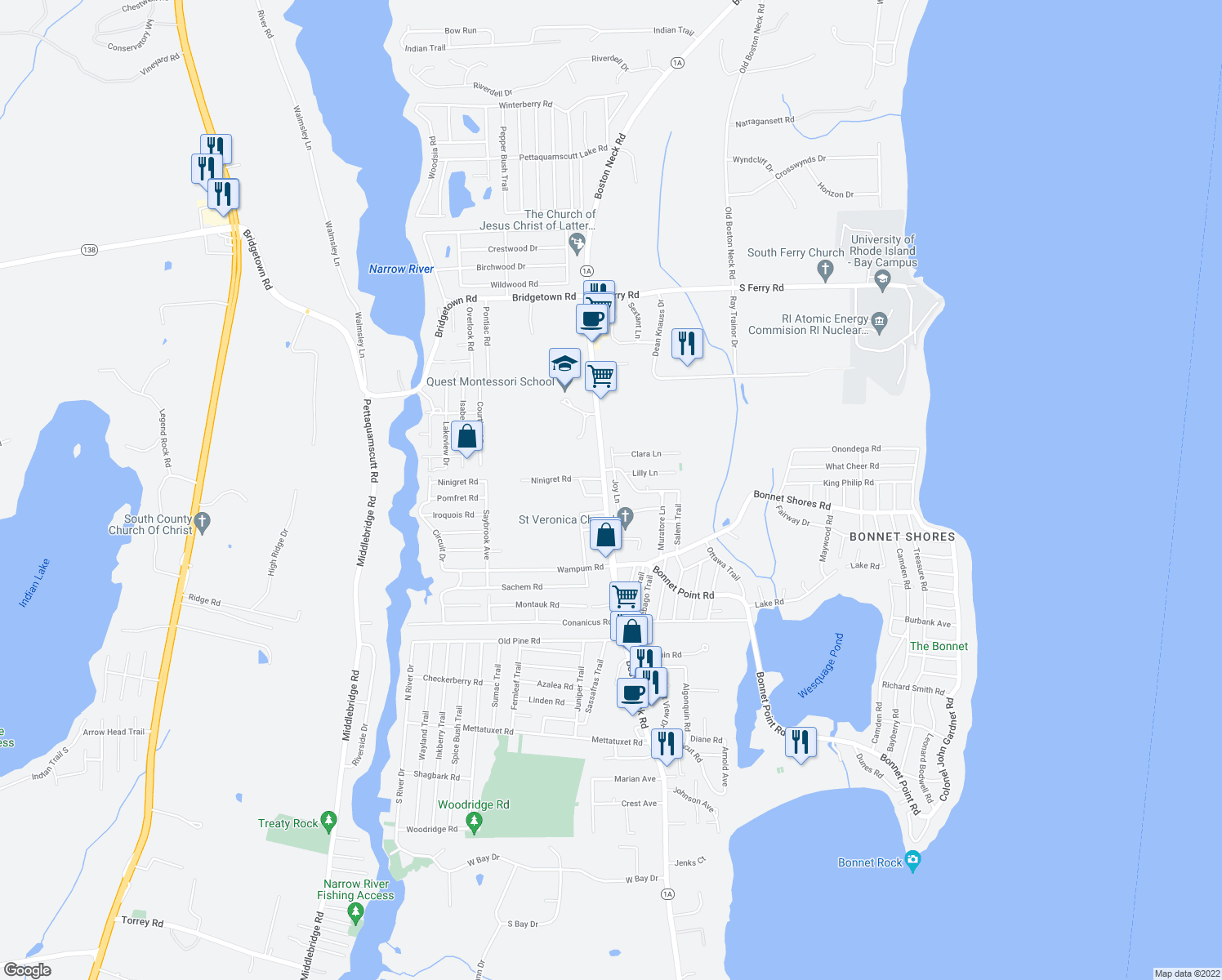 map of restaurants, bars, coffee shops, grocery stores, and more near 35 Joy Ln in Narragansett