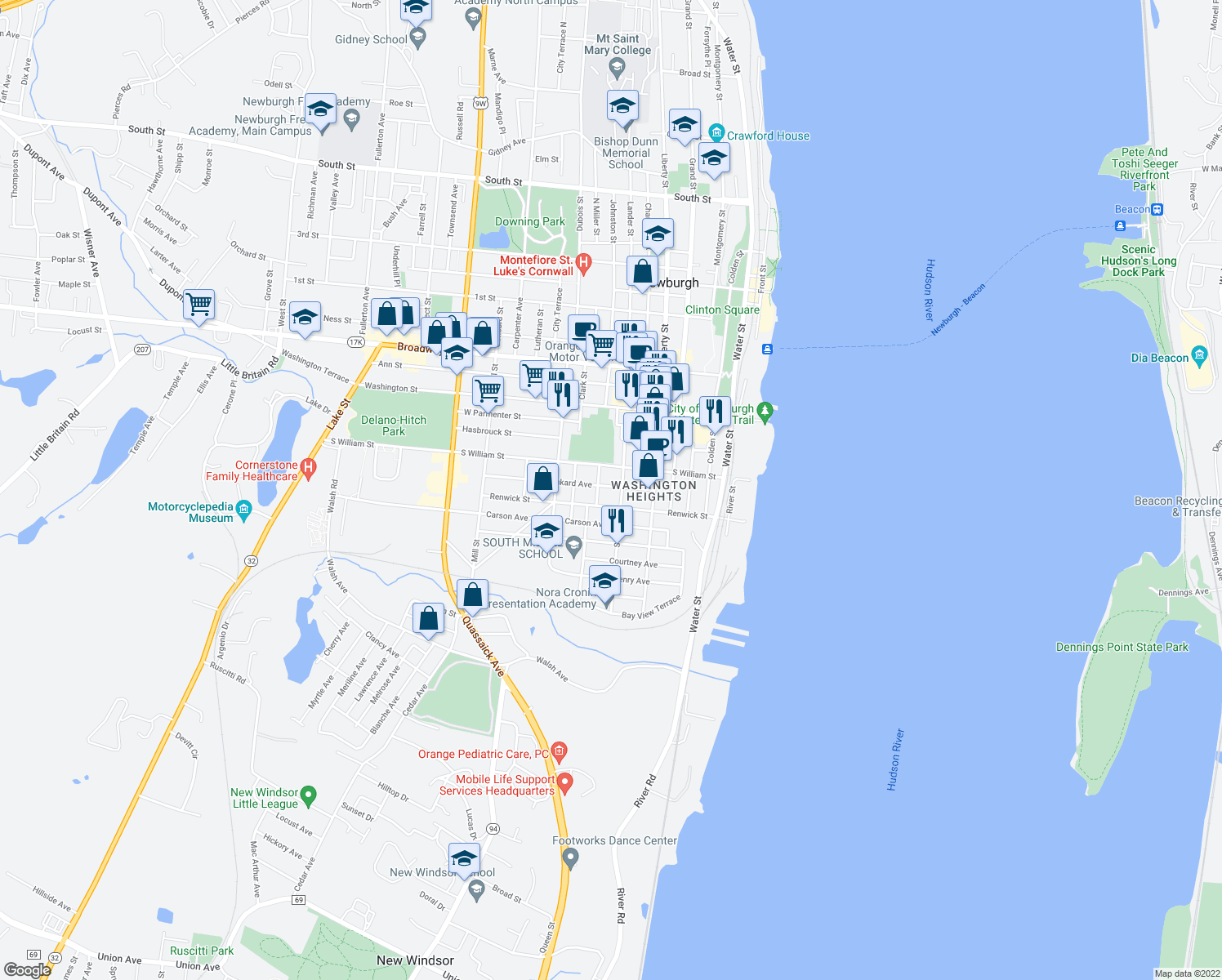 map of restaurants, bars, coffee shops, grocery stores, and more near 45 Benkard Avenue in Newburgh