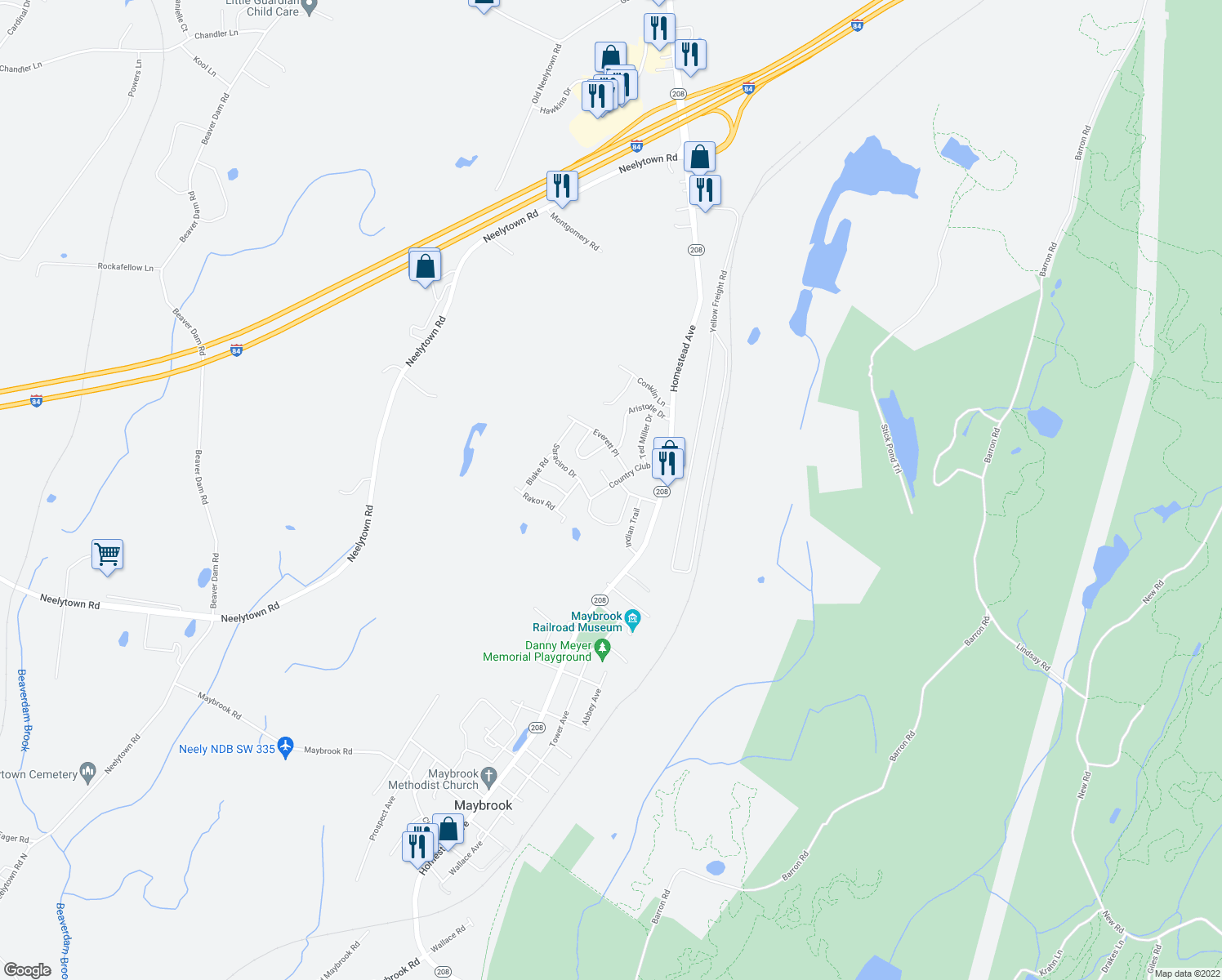 map of restaurants, bars, coffee shops, grocery stores, and more near 13 Country Club Drive in Maybrook