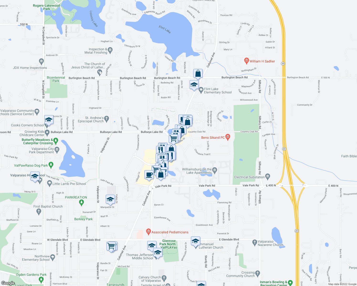 map of restaurants, bars, coffee shops, grocery stores, and more near 3310 Calumet Avenue in Valparaiso