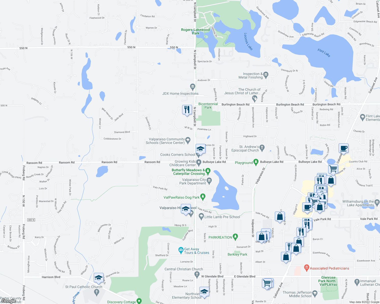 map of restaurants, bars, coffee shops, grocery stores, and more near 451-599 Brookshire Drive in Valparaiso
