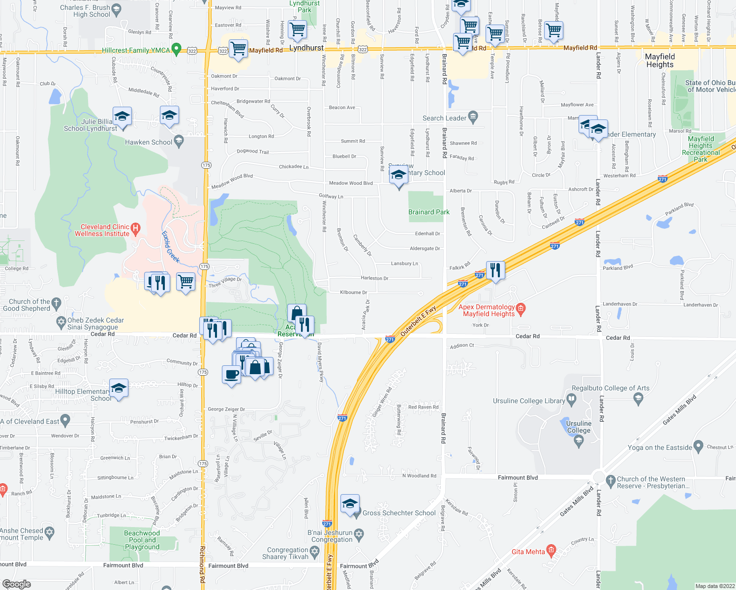 map of restaurants, bars, coffee shops, grocery stores, and more near 5456 Kilbourne Drive in Lyndhurst