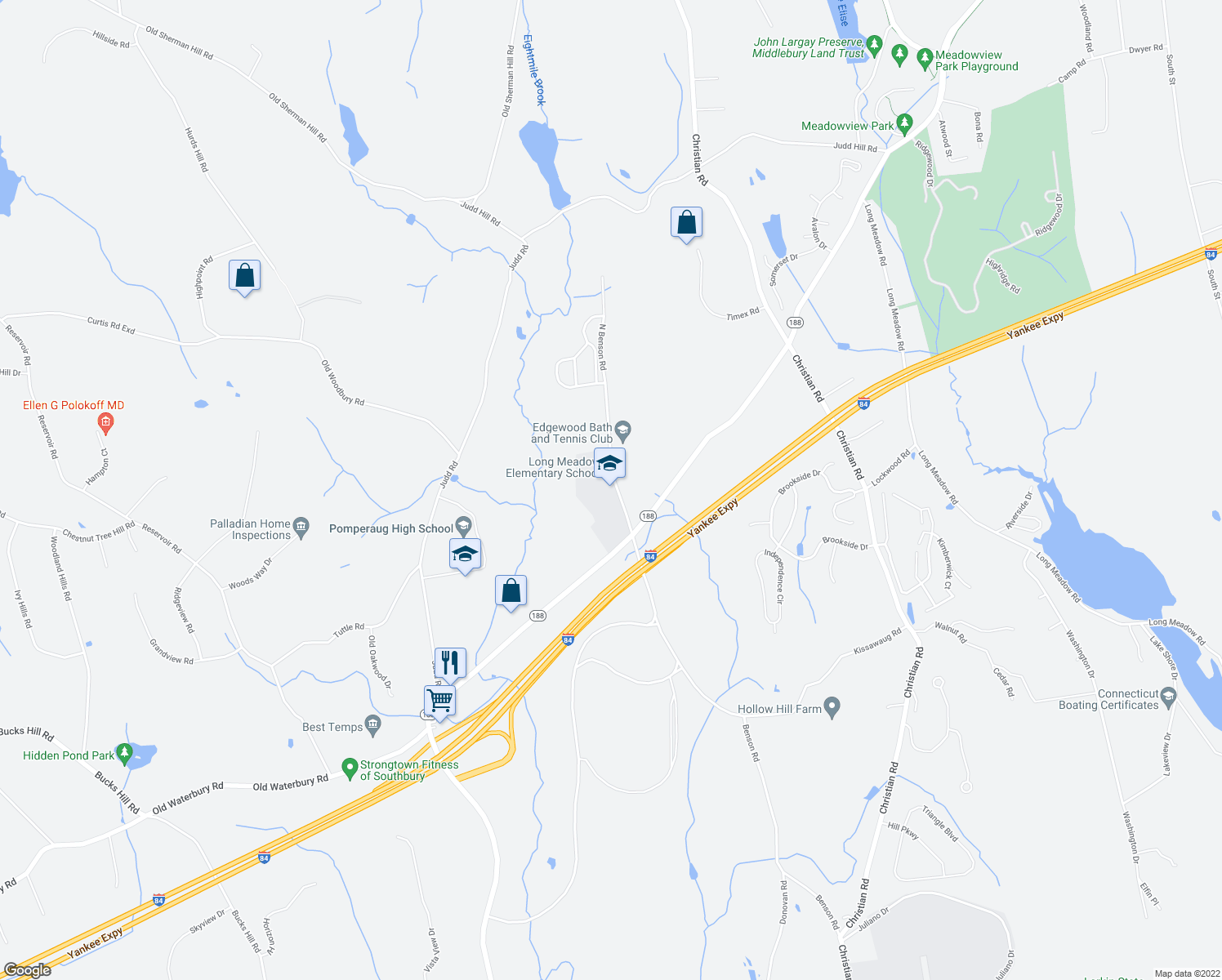 map of restaurants, bars, coffee shops, grocery stores, and more near 65-125 North Benson Road in Middlebury