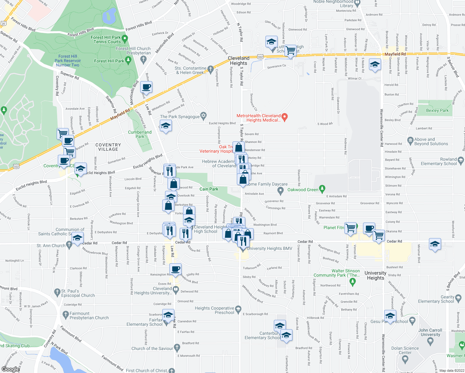 map of restaurants, bars, coffee shops, grocery stores, and more near 3436 Superior Park Drive in Cleveland Heights