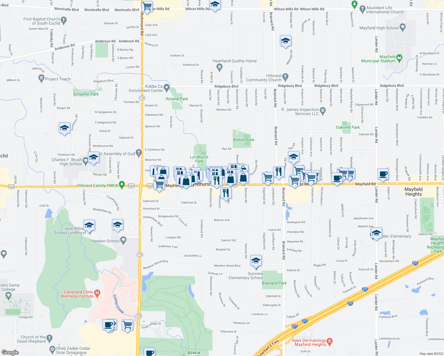 map of restaurants, bars, coffee shops, grocery stores, and more near 1443 Churchill Road in Lyndhurst