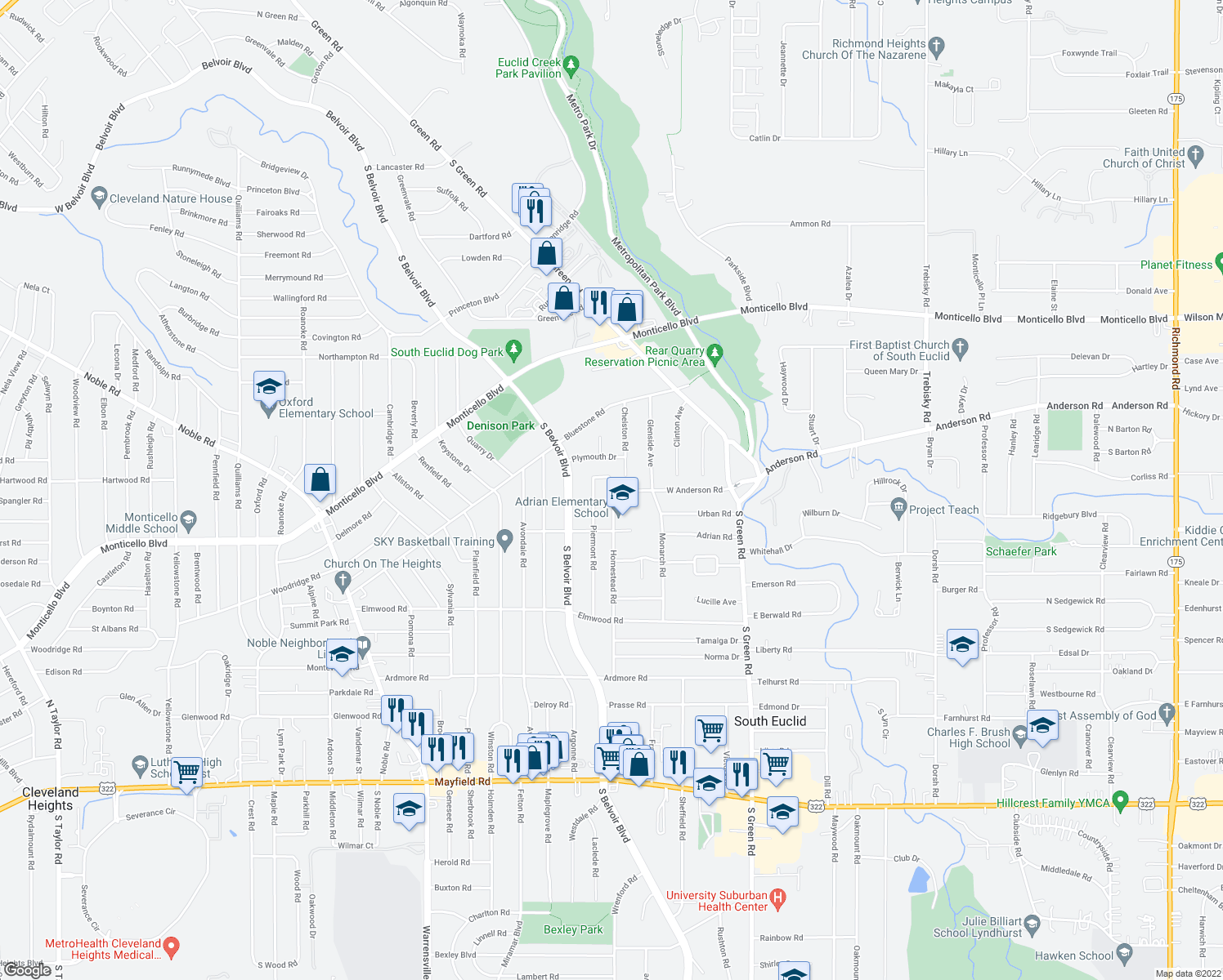 map of restaurants, bars, coffee shops, grocery stores, and more near 4262 West Anderson Road in South Euclid