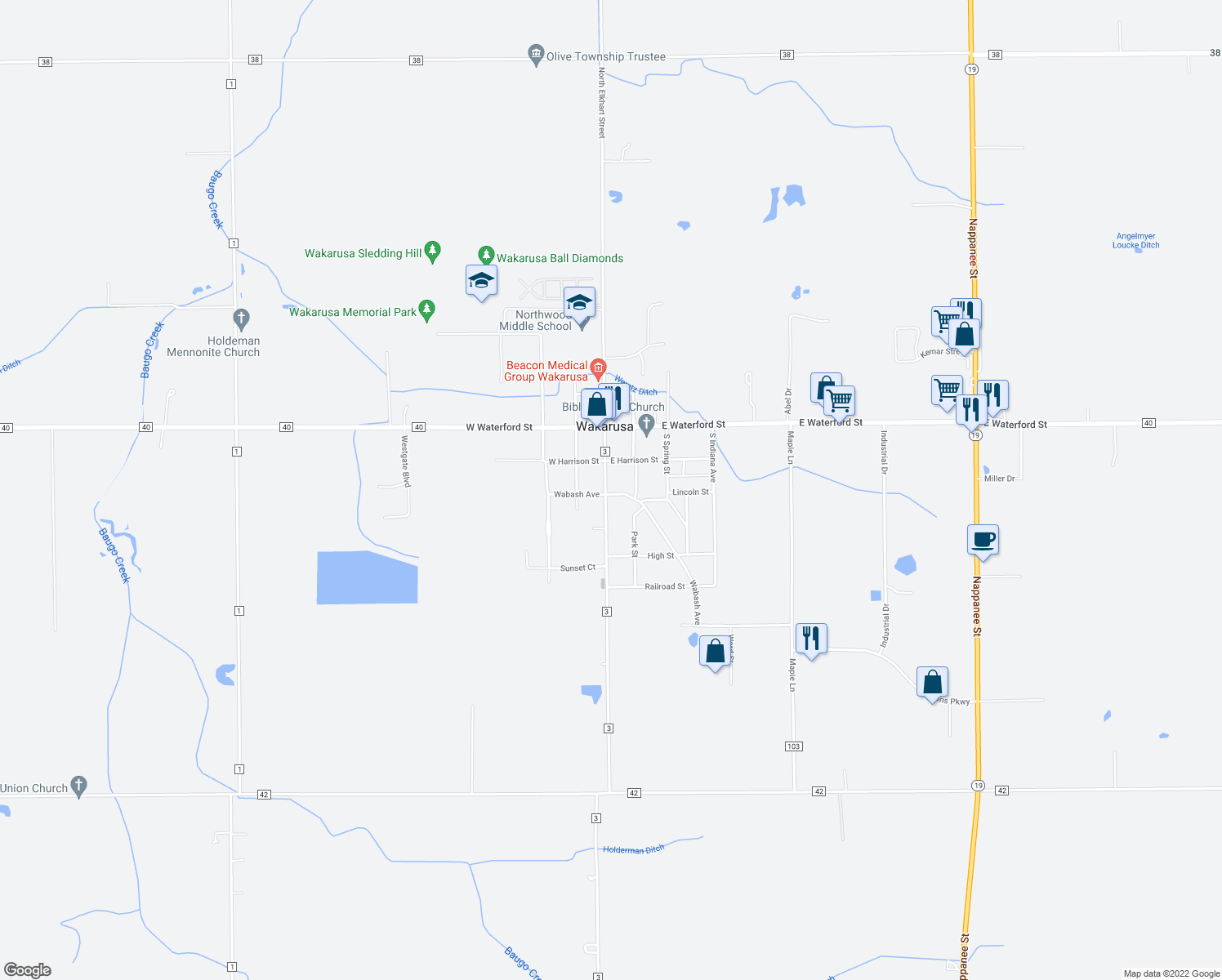 map of restaurants, bars, coffee shops, grocery stores, and more near 216 South Elkhart Street in Wakarusa