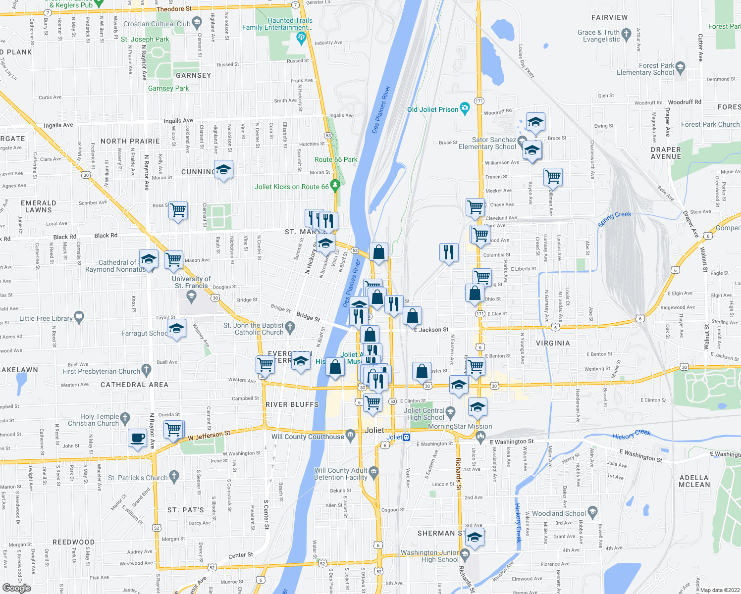 map of restaurants, bars, coffee shops, grocery stores, and more near 509 N Chicago St in Joliet