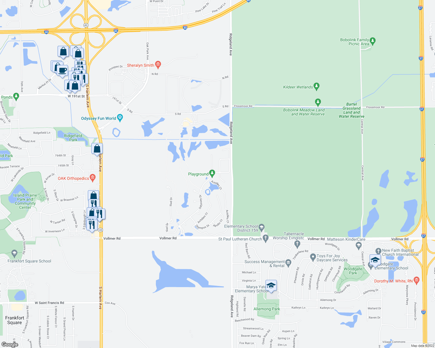 map of restaurants, bars, coffee shops, grocery stores, and more near 33 Corinth Drive in Tinley Park