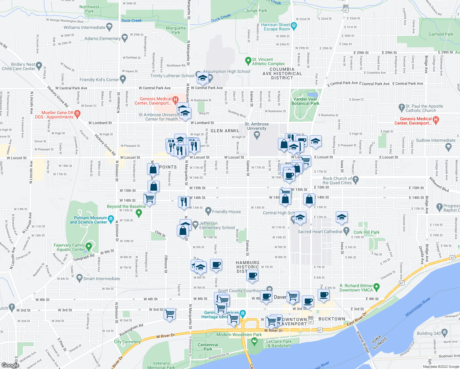 map of restaurants, bars, coffee shops, grocery stores, and more near 826 West 15th Street in Davenport