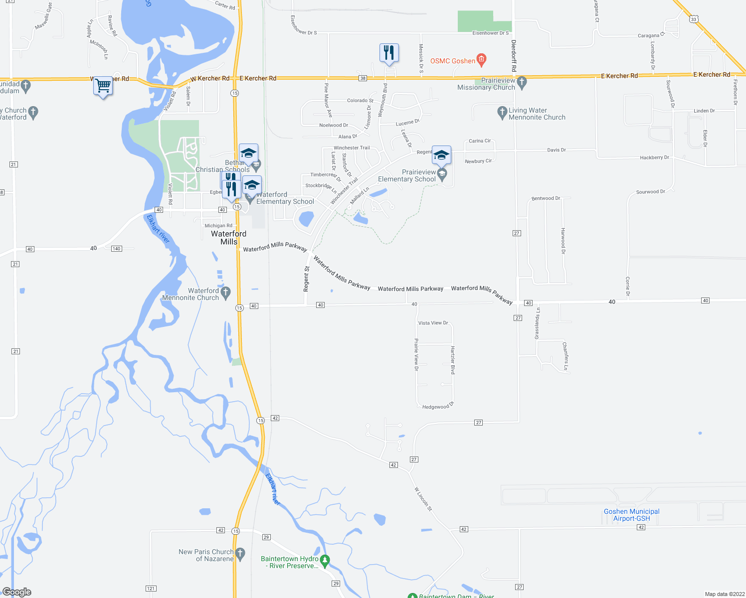 map of restaurants, bars, coffee shops, grocery stores, and more near 18369 County Road 40 in Goshen