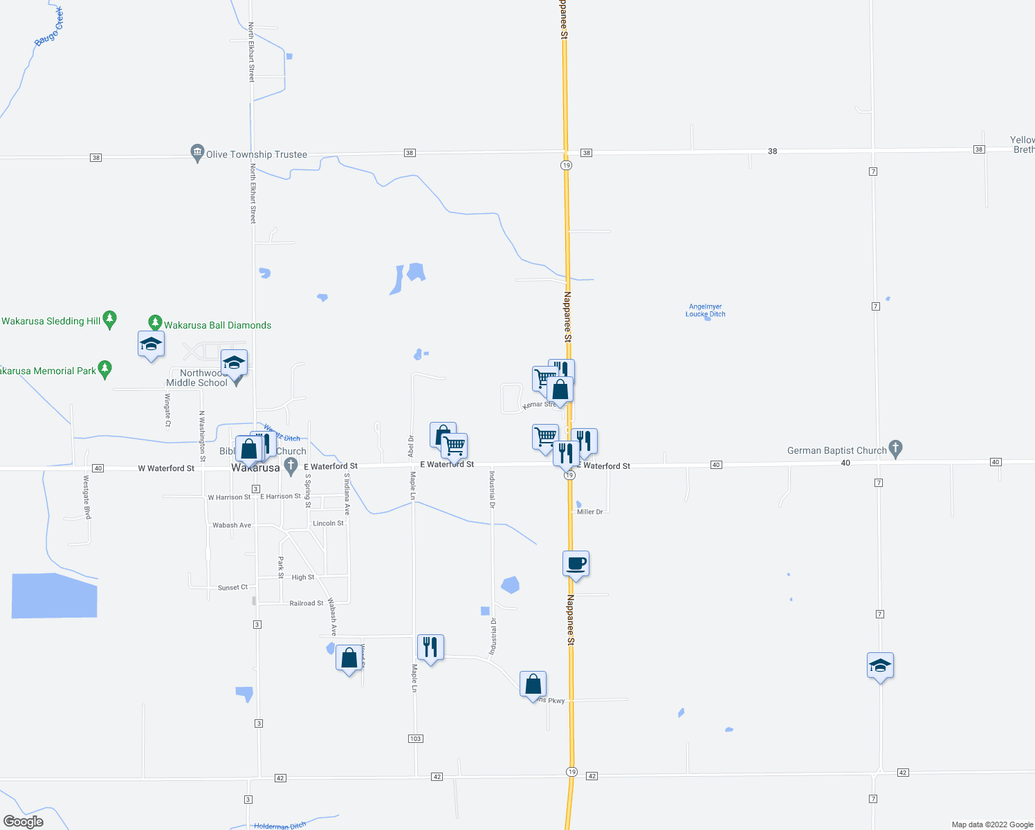 map of restaurants, bars, coffee shops, grocery stores, and more near Kemar Street in Wakarusa
