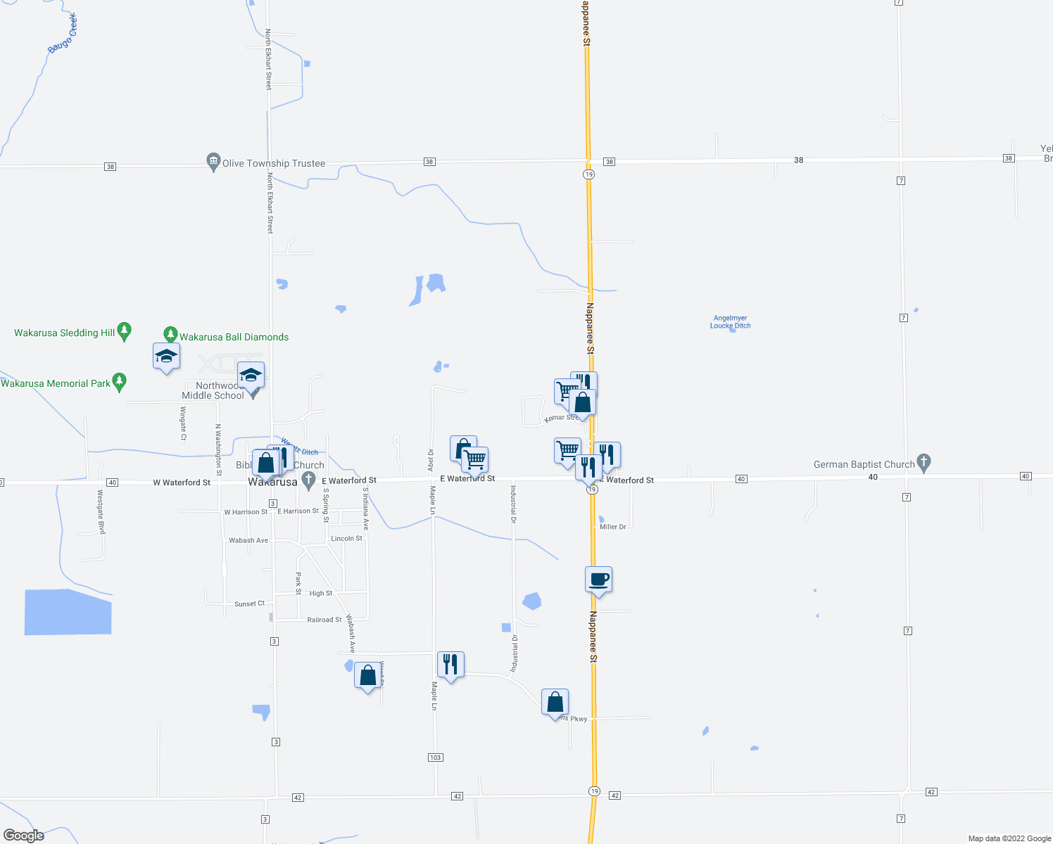 map of restaurants, bars, coffee shops, grocery stores, and more near 112 North Elkhart Avenue in Elkhart