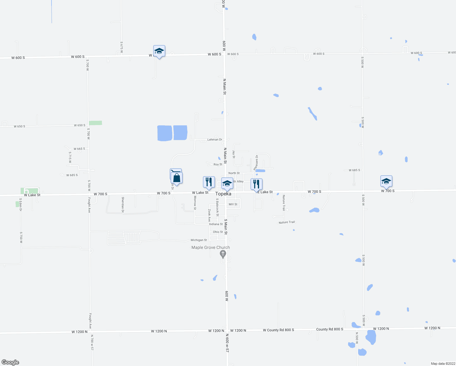 map of restaurants, bars, coffee shops, grocery stores, and more near 136 South Babcock Avenue in Topeka