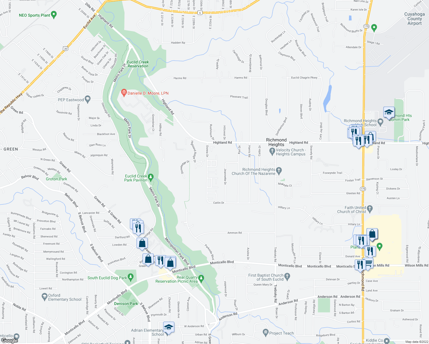 map of restaurants, bars, coffee shops, grocery stores, and more near 4443 Gilmer Lane in Richmond Heights