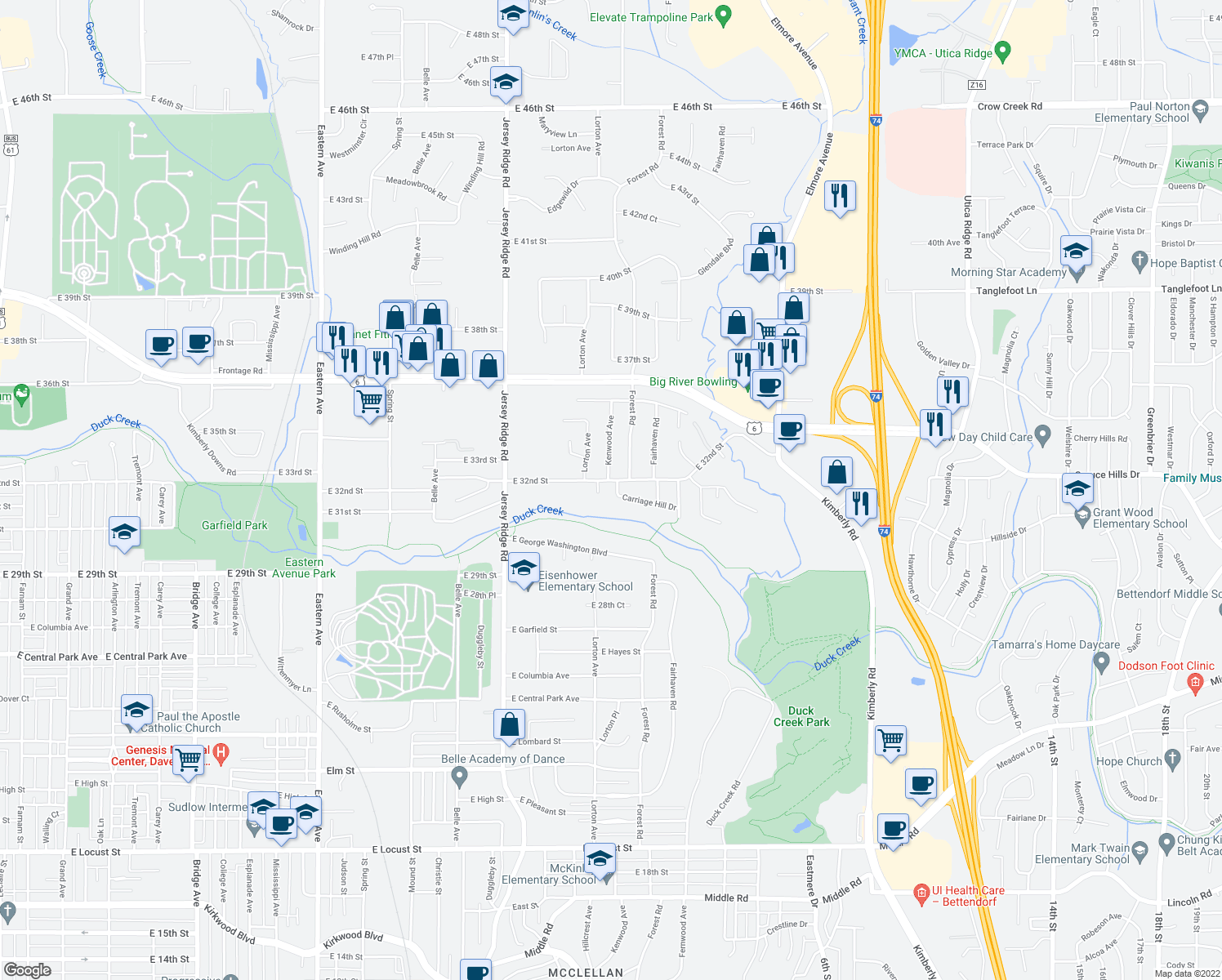 map of restaurants, bars, coffee shops, grocery stores, and more near 2711 Carriage Hill Drive in Davenport
