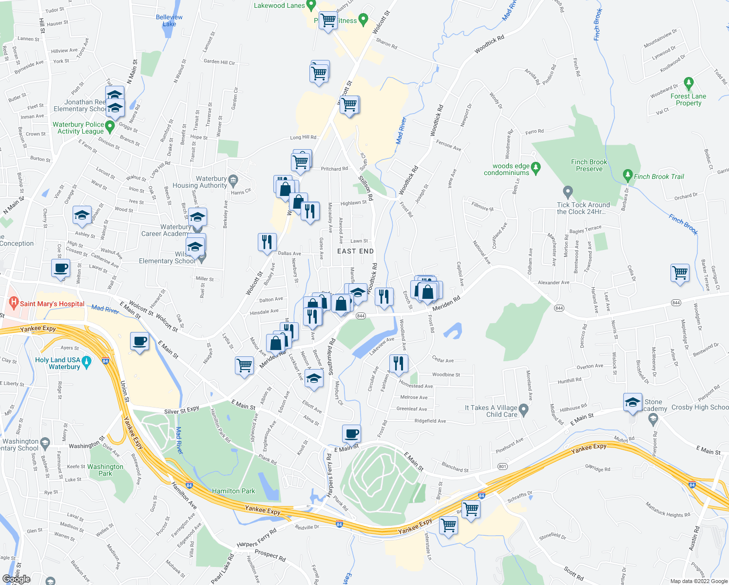 map of restaurants, bars, coffee shops, grocery stores, and more near 117 Woodtick Road in Waterbury