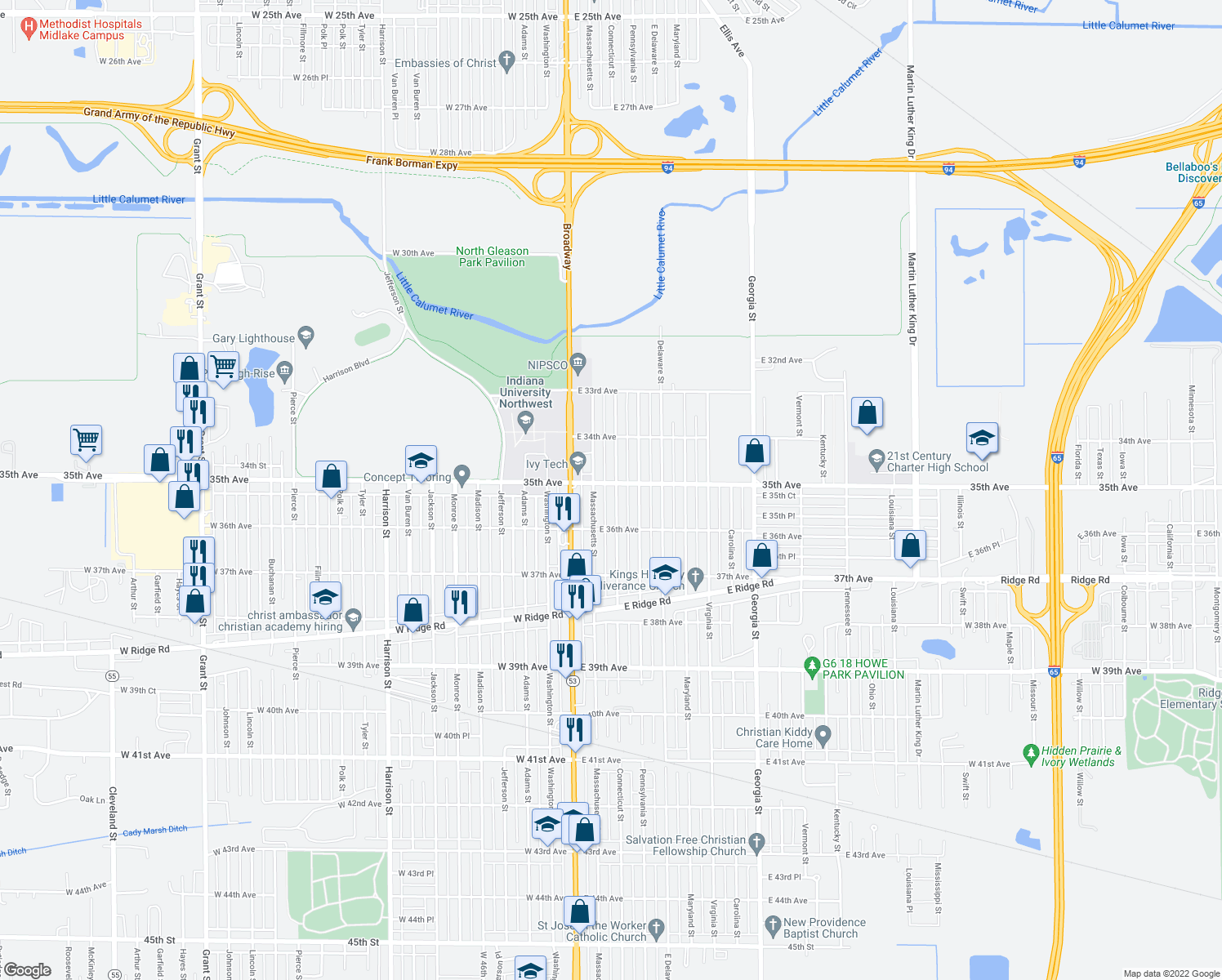 map of restaurants, bars, coffee shops, grocery stores, and more near 3510 Connecticut Street in Gary