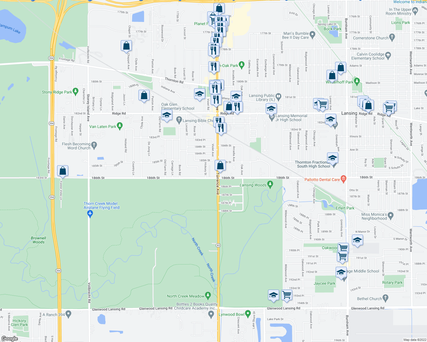 map of restaurants, bars, coffee shops, grocery stores, and more near 2345 185th Court in Lansing