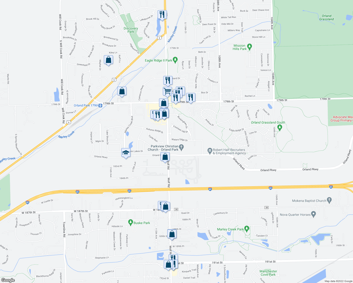 map of restaurants, bars, coffee shops, grocery stores, and more near 11111 Waters Edge Drive in Orland Park