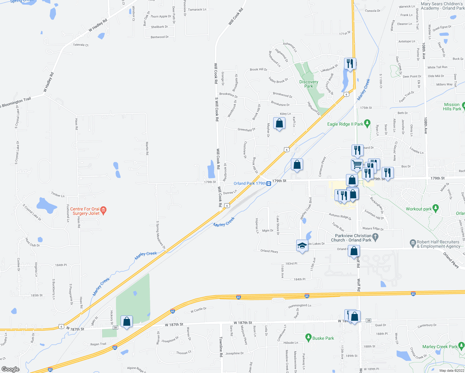 map of restaurants, bars, coffee shops, grocery stores, and more near 11911 Cormoy Lane in Orland Park