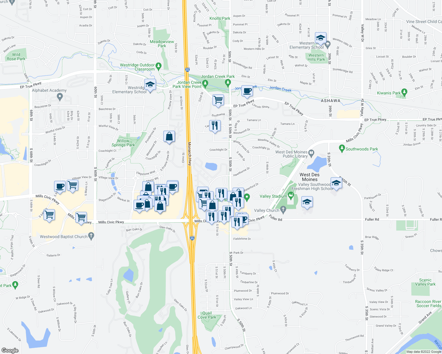 map of restaurants, bars, coffee shops, grocery stores, and more near 5050 Hawthorne Drive in West Des Moines