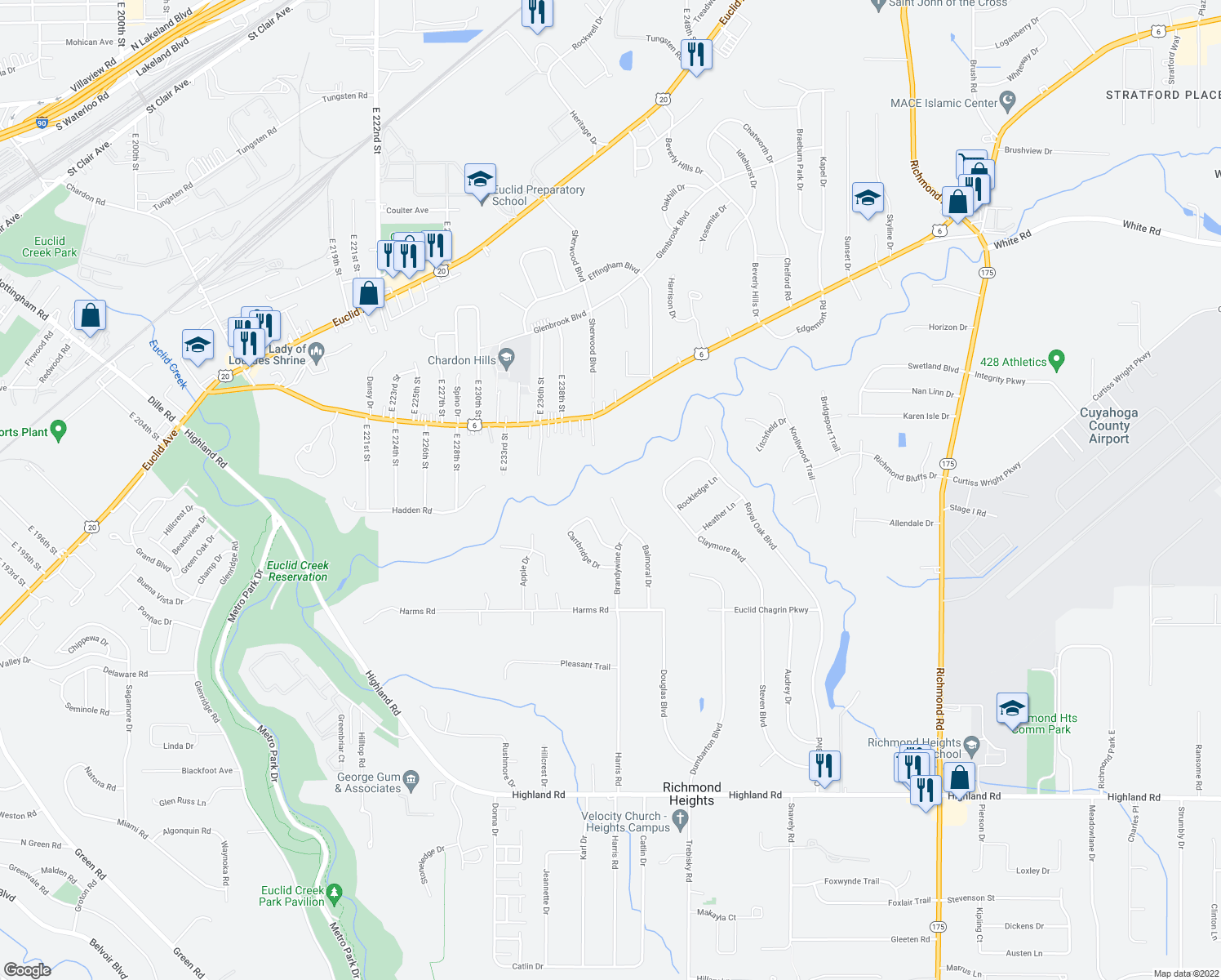 map of restaurants, bars, coffee shops, grocery stores, and more near 337 Balmoral Drive in Richmond Heights