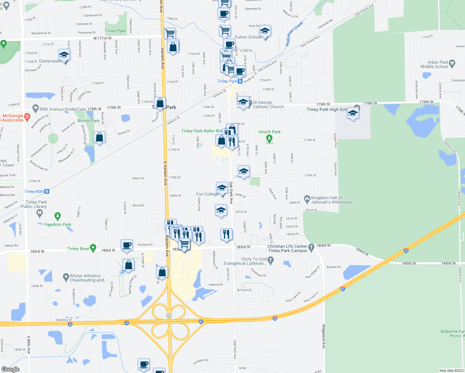 map of restaurants, bars, coffee shops, grocery stores, and more near 17432 Oak Park Avenue in Tinley Park