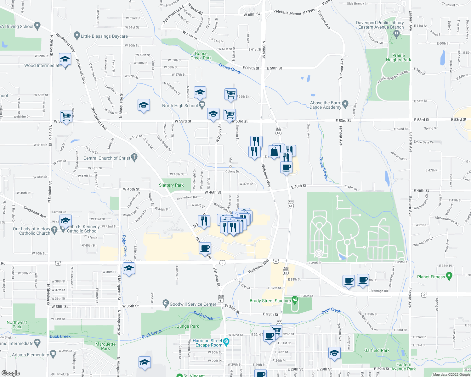 map of restaurants, bars, coffee shops, grocery stores, and more near 4610 Sheridan Street in Davenport