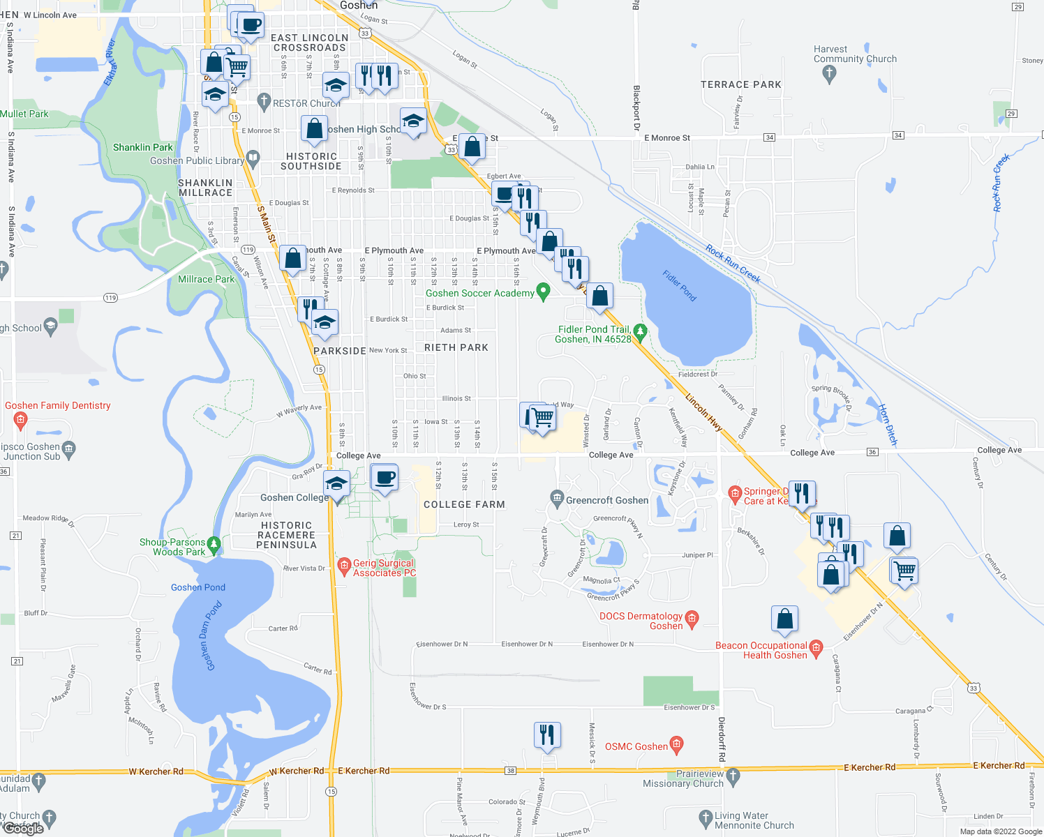 map of restaurants, bars, coffee shops, grocery stores, and more near 1401-1409 Kentfield Way in Goshen