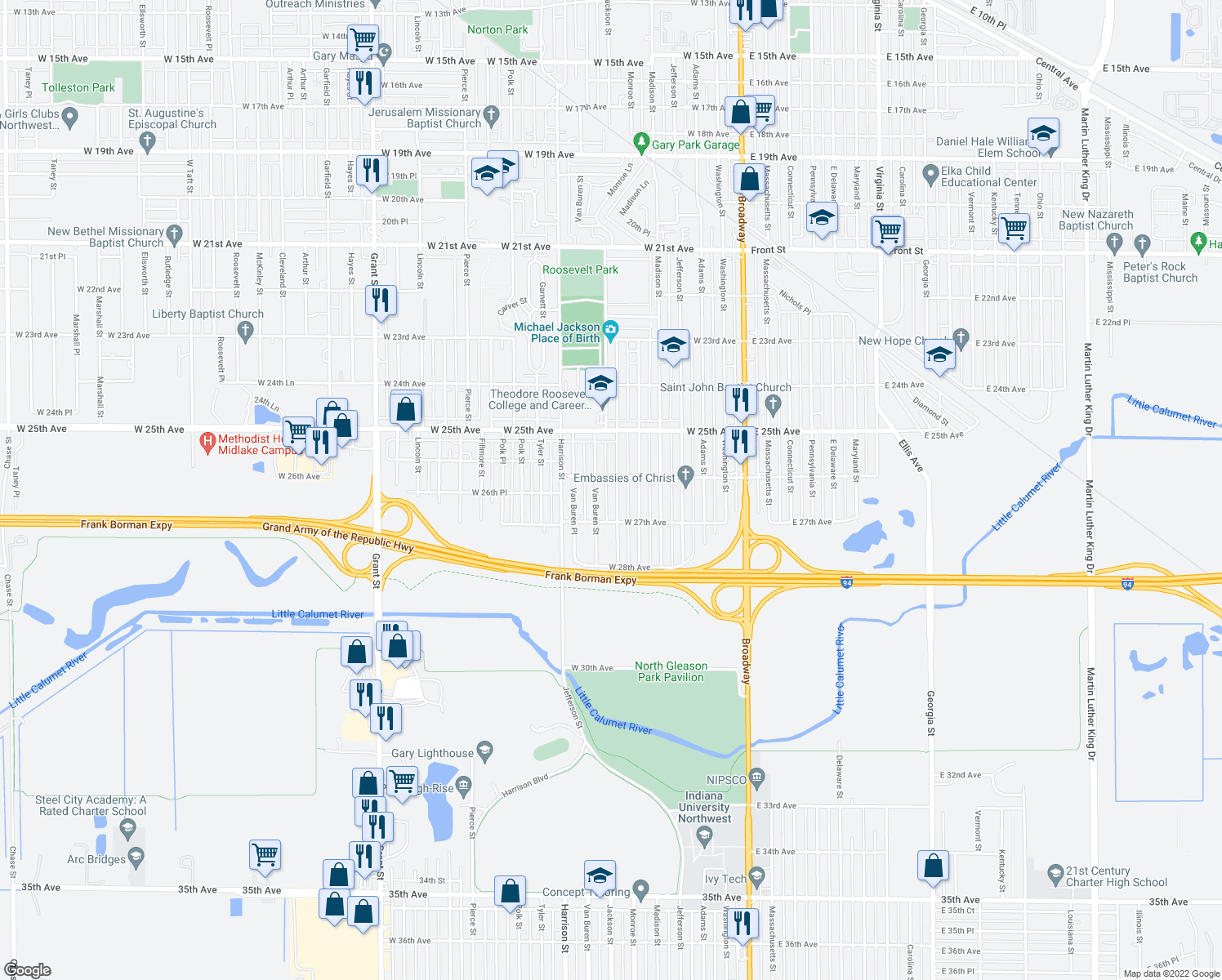 map of restaurants, bars, coffee shops, grocery stores, and more near 2624 Jackson Street in Gary