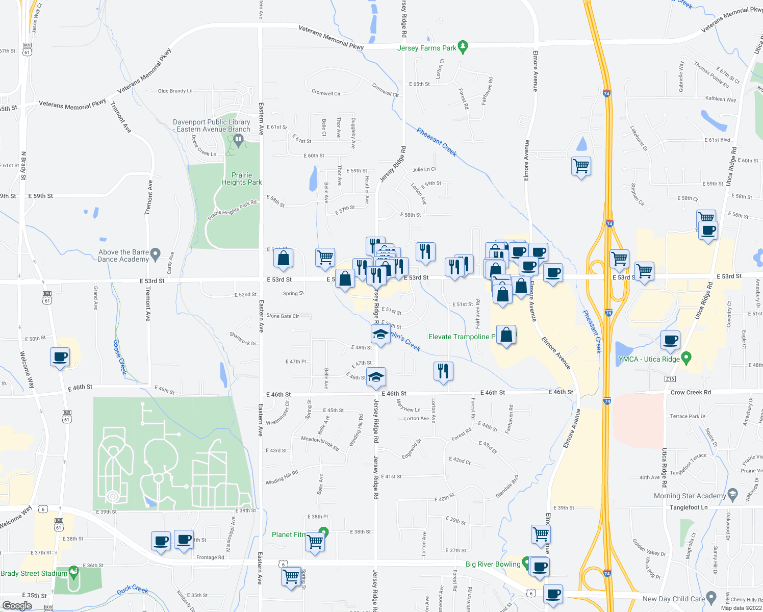 map of restaurants, bars, coffee shops, grocery stores, and more near 2418 East 51st Street in Davenport