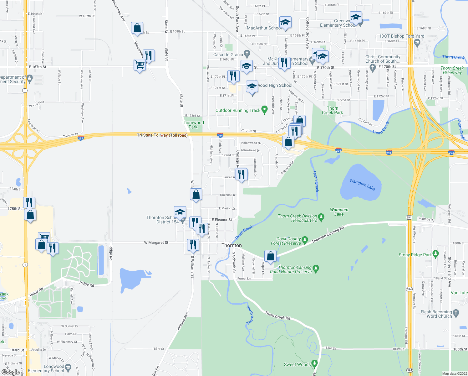 map of restaurants, bars, coffee shops, grocery stores, and more near 508 Chicago Road in Thornton