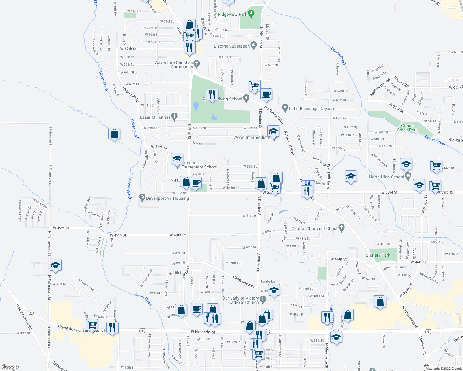 map of restaurants, bars, coffee shops, grocery stores, and more near 1840 Welshire Drive in Davenport