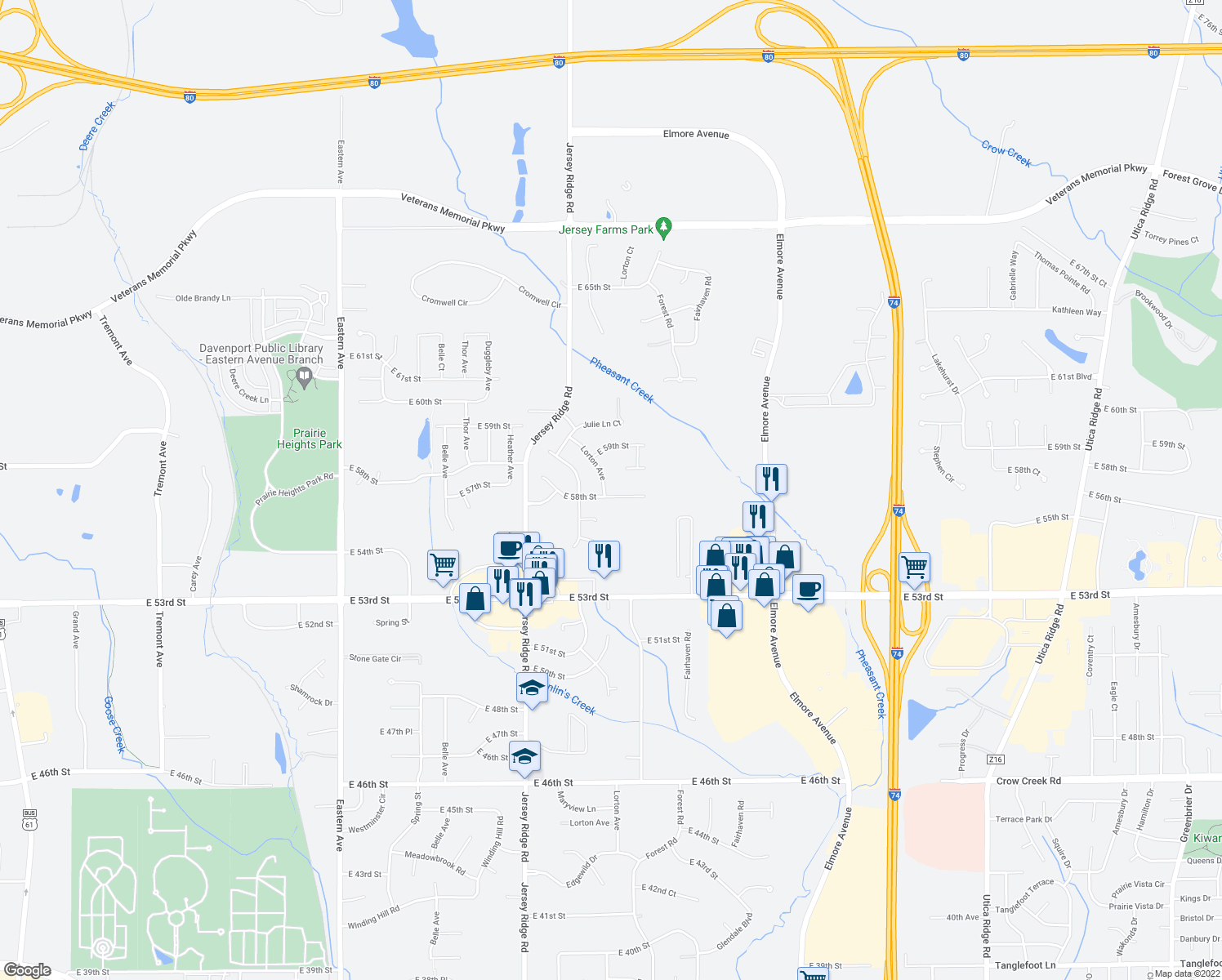 map of restaurants, bars, coffee shops, grocery stores, and more near 5801 Lorton Avenue in Davenport