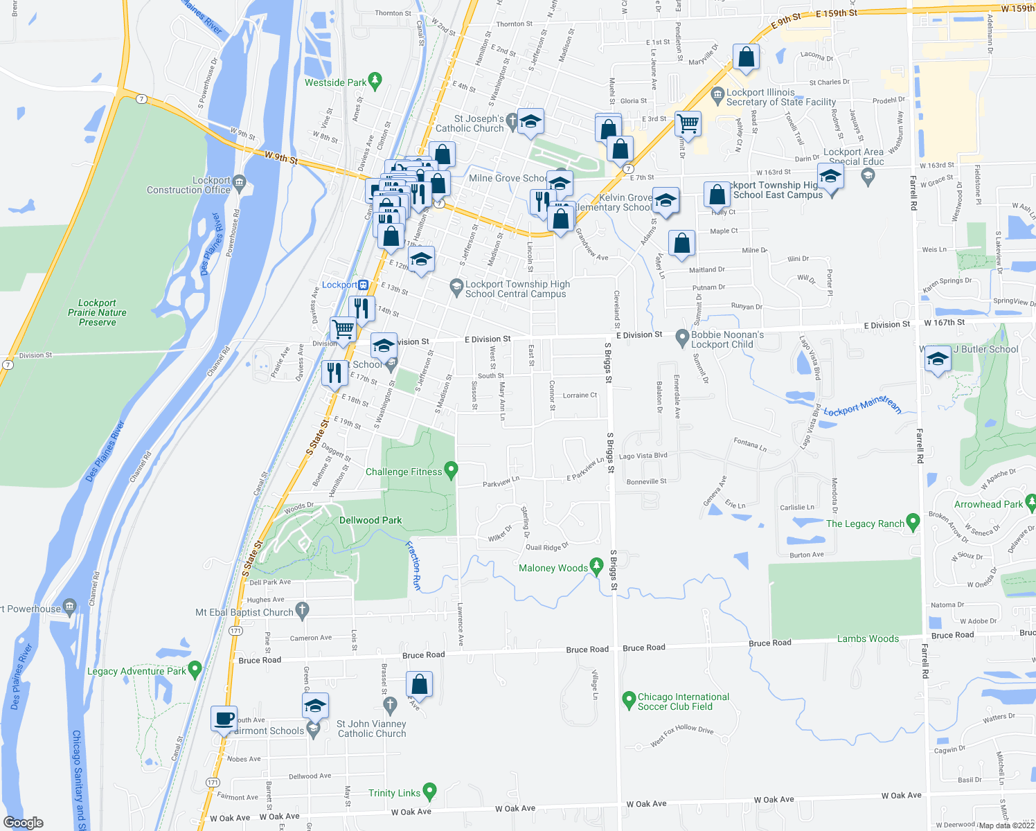 map of restaurants, bars, coffee shops, grocery stores, and more near 590-598 Rosanne Lane in Lockport