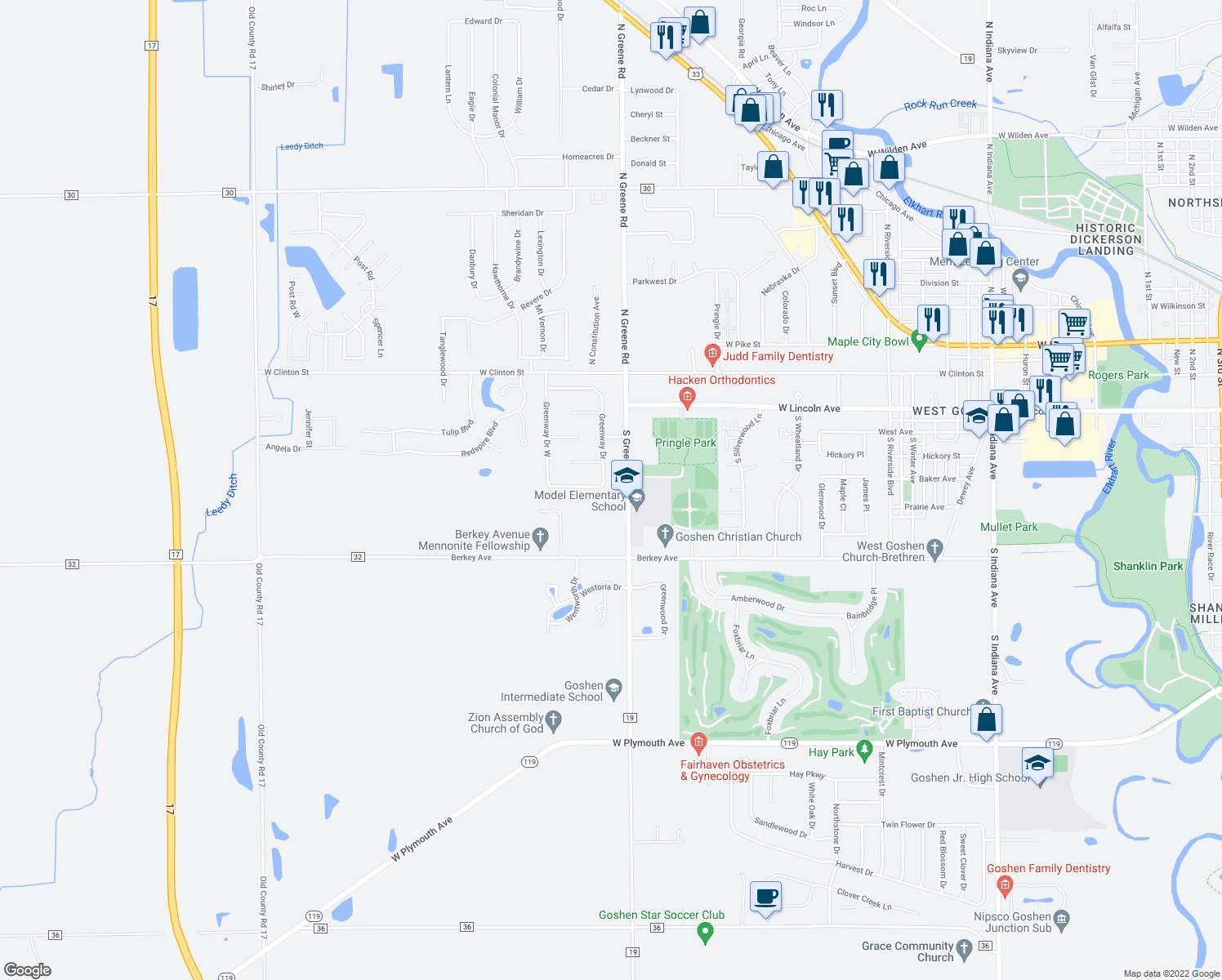 map of restaurants, bars, coffee shops, grocery stores, and more near 26 Greenway Drive in Goshen