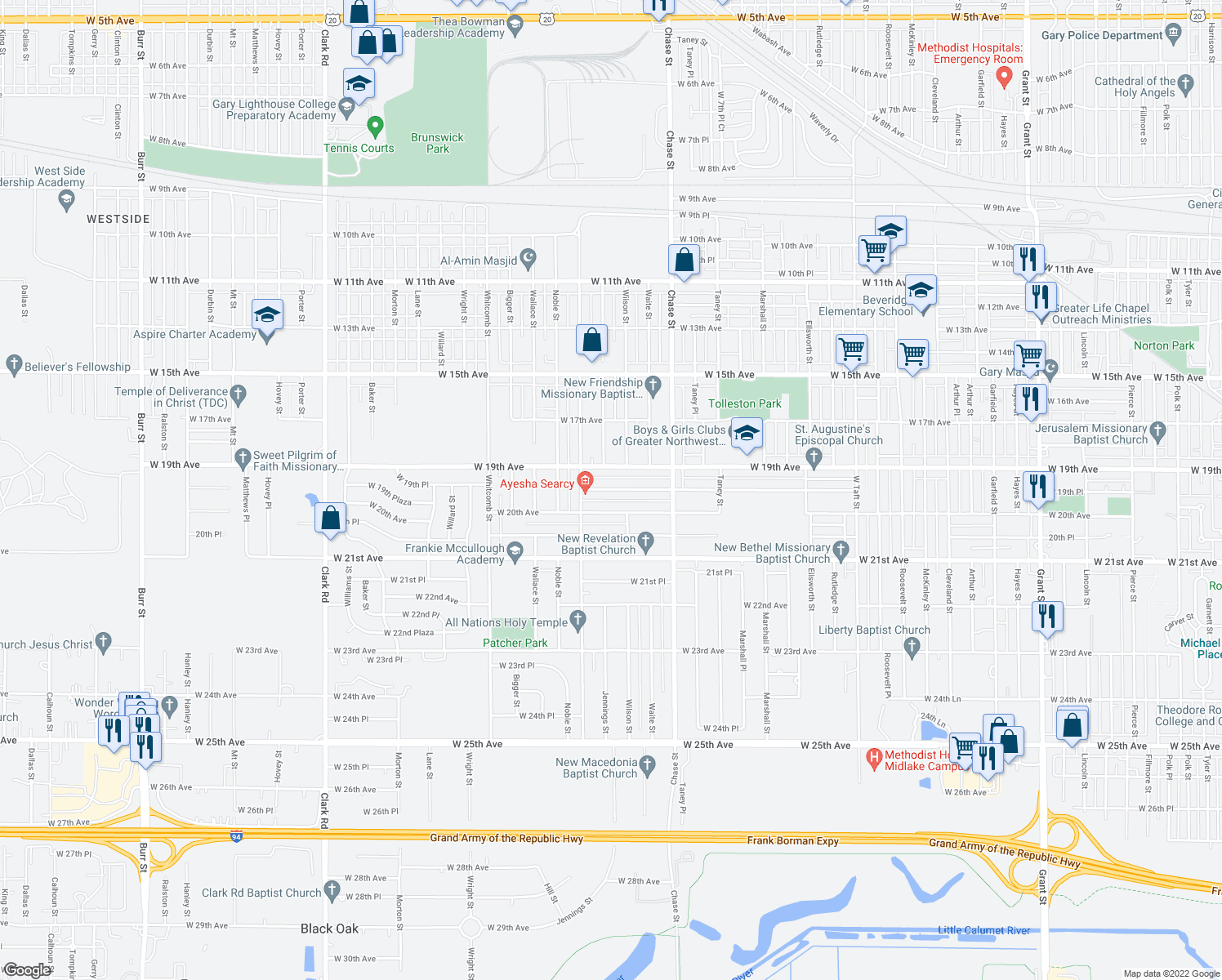 map of restaurants, bars, coffee shops, grocery stores, and more near 3353 West 19th Place in Gary