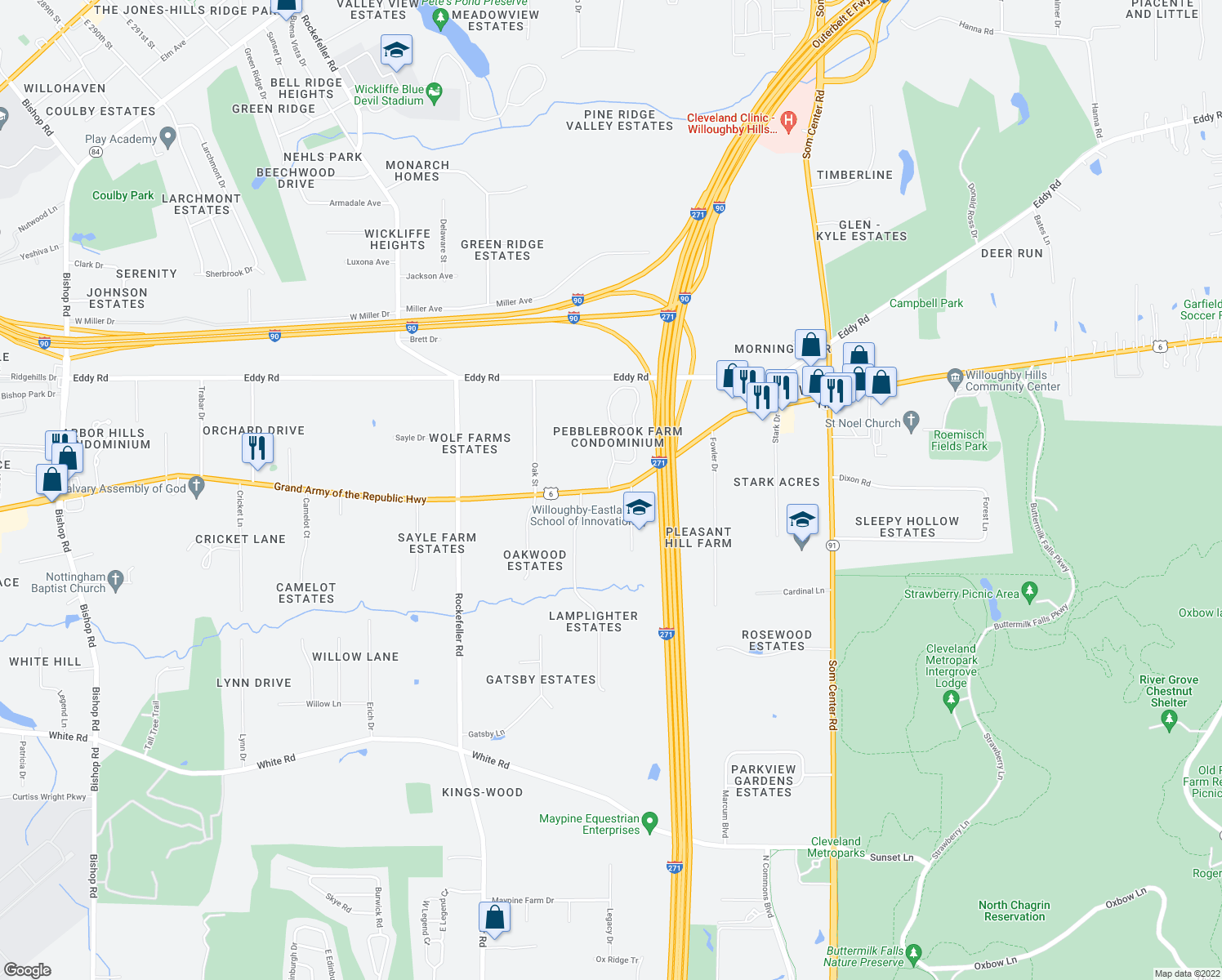 map of restaurants, bars, coffee shops, grocery stores, and more near Pebblebrook Drive in Willoughby Hills