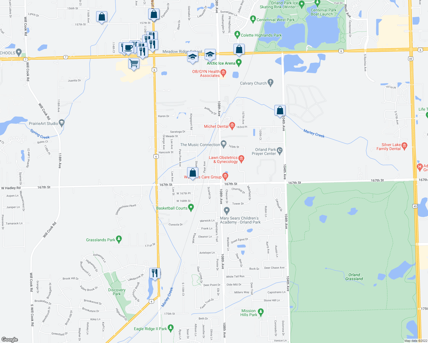 map of restaurants, bars, coffee shops, grocery stores, and more near 16612 Grants Trail in Orland Park