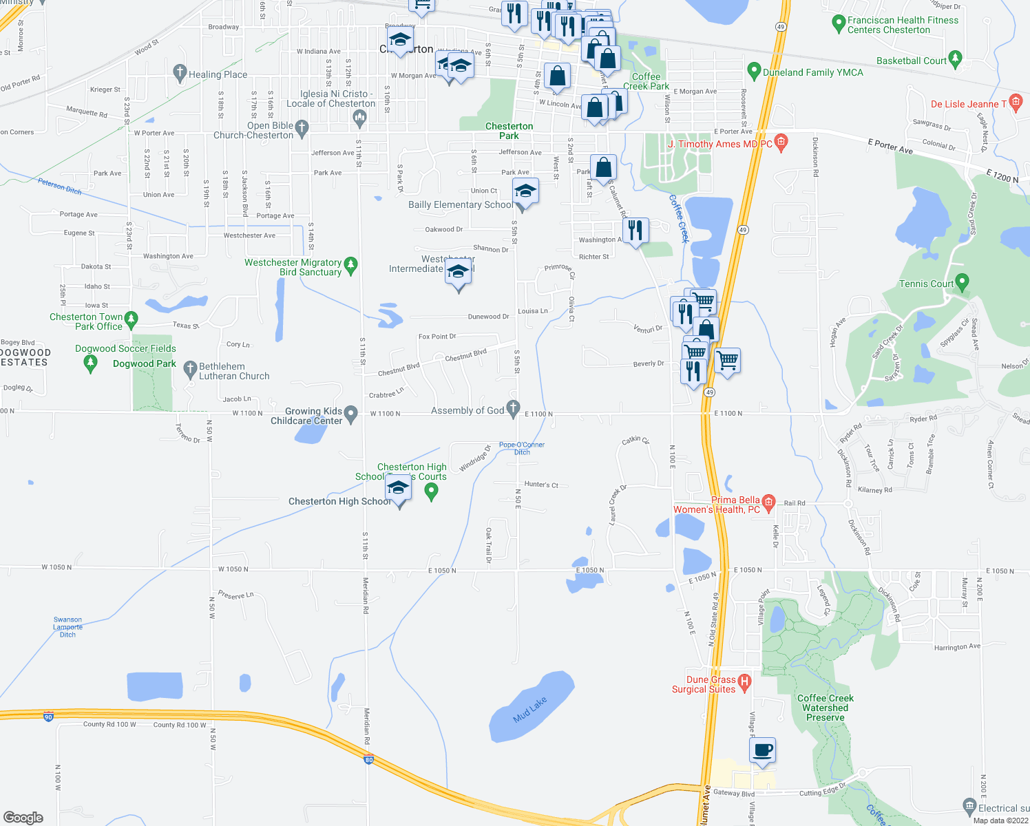 map of restaurants, bars, coffee shops, grocery stores, and more near 1-67 East 1100 North in Chesterton