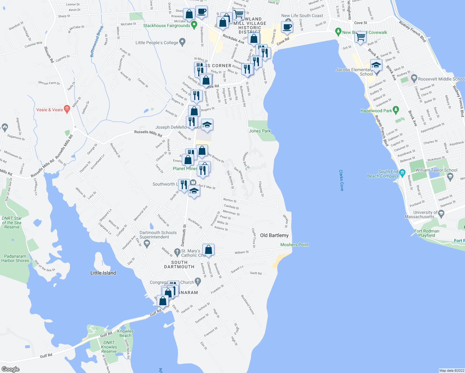 map of restaurants, bars, coffee shops, grocery stores, and more near Sea Breeze Street in Dartmouth