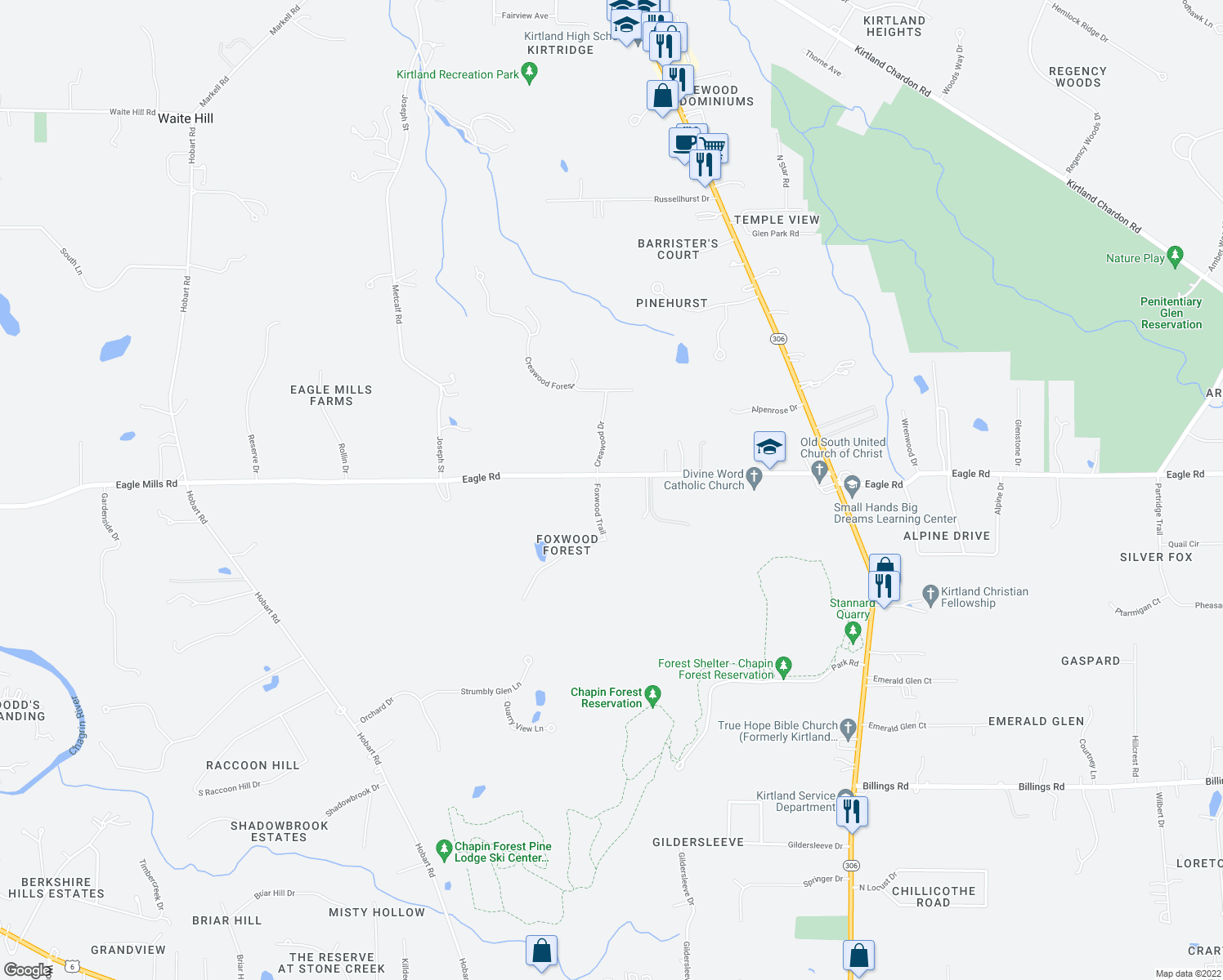 map of restaurants, bars, coffee shops, grocery stores, and more near 9819 Foxwood Trail in Kirtland