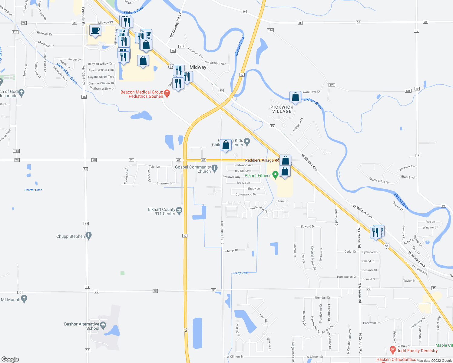 map of restaurants, bars, coffee shops, grocery stores, and more near 295 Brookside Manor in Goshen