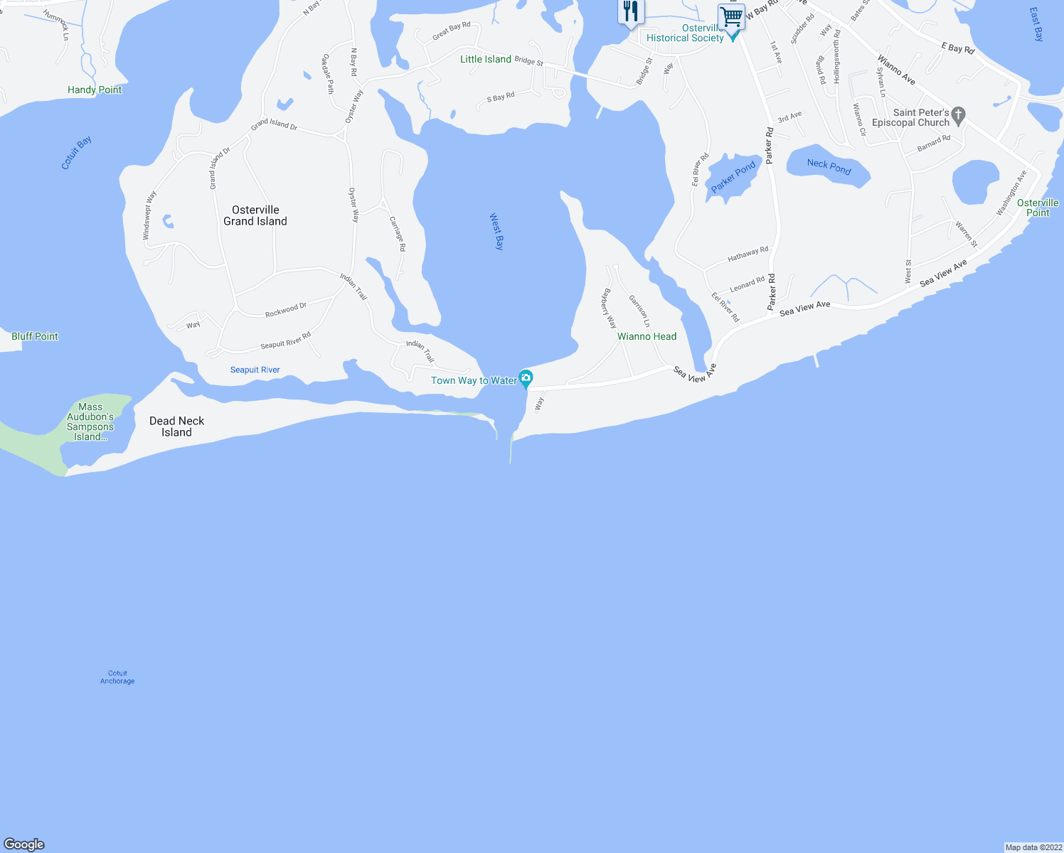 map of restaurants, bars, coffee shops, grocery stores, and more near 979 Sea View Avenue in Barnstable